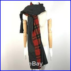 Comme Des Garcons SHIRT WOOL Blanket SCARF Red Plaid Gray NWT
