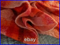 Donegal Ireland Candy Pink Red soft MOHAIR/WOOL Plaid Throw Blanket Rug 53x60