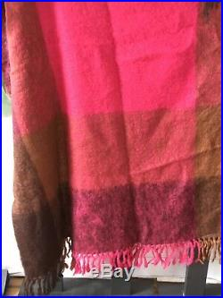 Donegal Mohair Wool Pink Brown Plaid Hand Woven Throw Vintage 65x80