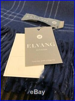 ELVANG DENMARK 100% BABY ALPACA THROW BLANKET Blue Plaid White New With Tags