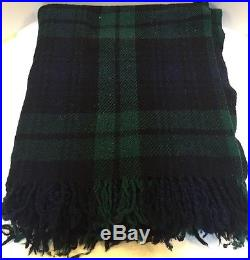 Early's Witney Point England Green Blue Tartan Plaid 100% Wool Throw 54 x 62