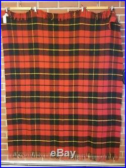 Elgin 100% Wool Throw Blanket Made in Scotland Tartan Red Black New with Tags NWT