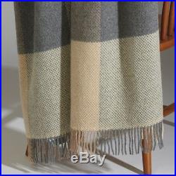 Ethan Allen Tulla Linen Natural grey Fringed Plaid Wool Throw Blanket 54x66 New