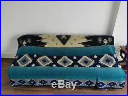Extra Large Soft And Warm Blue Alpaca Wool Blanket Plaid Andean Design 75x90