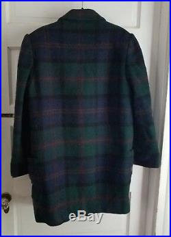 Fairbrooke Saks Fifth Avenue Tartan Plaid Wool Double Breasted Peacoat Womens 10