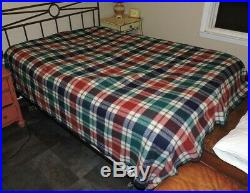 Faribo 100% Wool Blanket Blue Red Ivory Green Plaid Queen/ Full 98 x 80