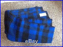 Filson Blue Black Plaid Wool Campfire Camping Cabin Blanket 76 x 92