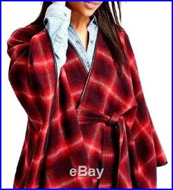 Gap Luxurious Red/Black Plaid Blanket Cape Wool-Blend, M/L may fit XL, NWT$138