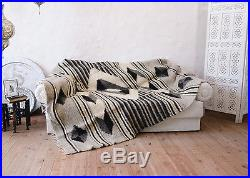 Geometric Sofa Throw 100% Wool Handmade Plaid Bed Cover Queen Size Bed Blanket