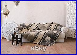 Gray Throw Blanket 100% Wool Plaid Hand Woven Sofa Bed Cover Contemporary Decor