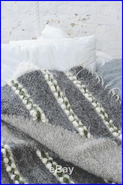Gray Wool Blanket Queen Size Geometric Pattern Sofa Throw Plaid Handwoven Cover