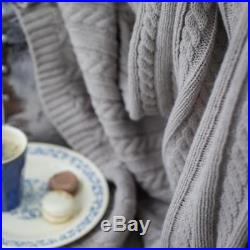 Gray Wool Cable Knit Throw Sofa Bed Cover Plaid Blanket Living Room Home Decor
