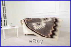Grey Throw Sofa Bed Blanket Pure 100% Wool Plaid Sofa / Bed Cover 180x200 cm