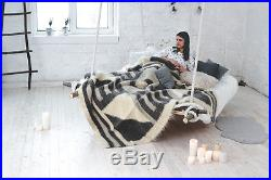 Grey Wool Blanket Queen Size Throw Bed Cover Hand Woven Plaid Cozy Home Decor