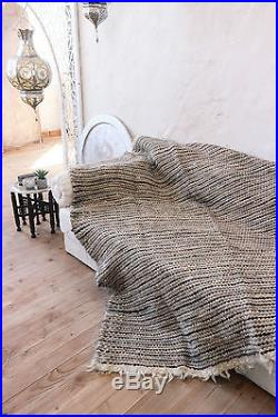 Grey Wool Throw Pure Wool Blanket Handmade Plaid Sofa Throw Bed Cover Hand Woven