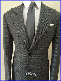 Grey super 150 Cerruti plaid wool suit with wide peak lapel-Made in Italy