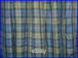 HEAVY WOOL CHECK PLAID CURTAINS Blanket Interlined BLUE GREEN Ea 188W 88D VGC