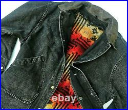 HOT WOOLRICH WOOL BLANKET LINED Leather Collar CANVAS BLACK CHORE COAT JACKET XL