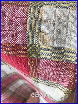 Hand Woven WOOL Coverlet Blanket Homespun Red Plaid Fringe Cabin Country