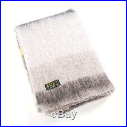 Irish Mohair Gray Wool Blanket Throw by John Hanly sm513 Made in Ireland