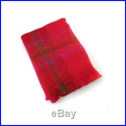 Irish Mohair Red Wool Blanket Throw by John Hanly sm552 Made in Ireland