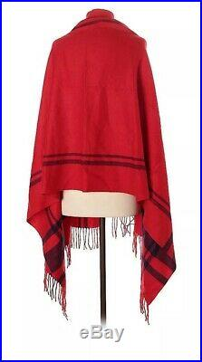 J. CREW Cape Scarf Striped Blanket Red Stripe Wool Acrylic with Arm Holes