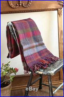 John Hanly Plaid Wool Blanket Throw 100% Lambswool Soft 54 Wide X 72 Long Plaid
