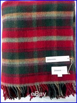 Johnstons Home Scotland Throw Blanket Red Green Plaid Wool With Tag New