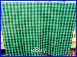 Kenwood Wool Vtg Black Green Buffalo Plaid Roundup Blanket 68x90 Twin 3 Avail EX