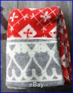 Klippan Sweden 100% Wool Blanket Red, Gray and White Snowflakes New