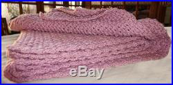 Large Gorgeous Uzbek Handmade Homemade Natural Wool Blanket Plaid Rug Wrap M331