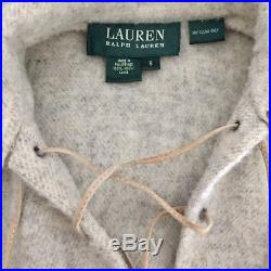 LAUREN Ralph Lauren Heathered Plaid Lace-Up Blanket Wool Poncho Sweater S $398