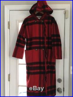 LL BEAN Vintage Womens Wool BLANKET Coat Jacket, Petite SMALL, Red Black Plaid