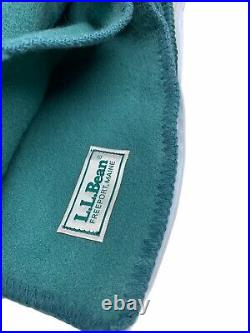 L. L. BEAN 100% Wool Primary Trapper Blanket DS GREEN USA Size 9309 Full