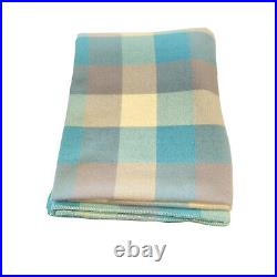 Laconia Pure Lambswool Double Blanket Multicoloured Checked Plaid Retro Vintage