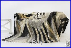 Large Grey Throw For Sofa 100% Wool Blanket Pure Natural Handmade Couch Plaid