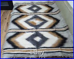 Large Hutsul Real PURE Sheep WOOL Eco woven Blanket /Plaid Rug180210 cm
