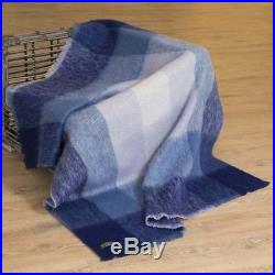 Large Irish Blue Check Made Mohair Wool Blanket Throw by John Hanly lm518