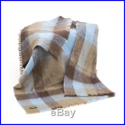 Large Irish Made Gray Blue Mohair Wool Blanket Throw by John Hanly lm550