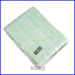Large Irish Made Green Blue Mohair Wool Blanket Throw by John Hanly lm521
