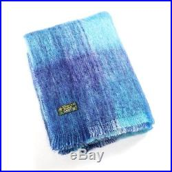 Large Irish Mohair Wool Blanket Throw Blue Color Plaid by John Hanly lm515