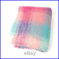 Large Irish Mohair Wool Blanket Throw Bright Color Plaid by John Hanly lm509