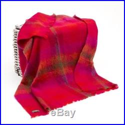 Large Irish Mohair Wool blanket Throw Red Plaid by John Hanly Ireland lm552