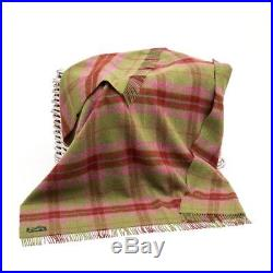 Large Pure Wool Plaid Blanket Throw 54 x 72 Made in Ireland by John Hanly 122