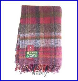 Large Pure Wool Plaid Blanket Throw 54 x 72 Made in Ireland by John Hanly 134