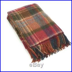 Large Pure Wool Plaid Blanket Throw 54 x 72 Made in Ireland by John Hanly 152