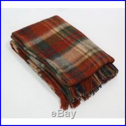 Large Pure Wool Plaid Blanket Throw 54 x 72 Made in Ireland by John Hanly 153