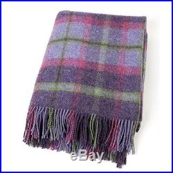 Large Pure Wool Plaid Blanket Throw 54 x 72 Made in Ireland by John Hanly 181