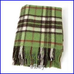 Large Pure Wool Plaid Blanket Throw 54 x 72 Made in Ireland by John Hanly 184