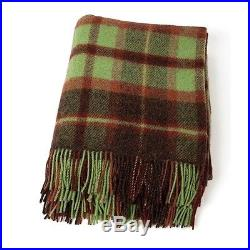 Large Pure Wool Plaid Blanket Throw 54 x 72 Made in Ireland by John Hanly 185